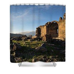 Splendid Ruins Of St. Grigor Church In Karashamb, Armenia Shower Curtain by Gurgen Bakhshetsyan