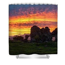 Splendid Ruins Of Tormak Church During Gorgeous Sunset, Armenia Shower Curtain by Gurgen Bakhshetsyan