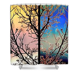 Shower Curtain featuring the digital art Splendid Spring Fusion by Will Borden