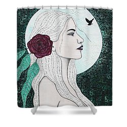 Shower Curtain featuring the mixed media Splendour by Natalie Briney