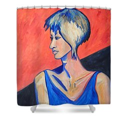 Shower Curtain featuring the painting Split Personality by Esther Newman-Cohen