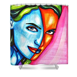 Split Personality Woman Abstract Drawing Shower Curtain