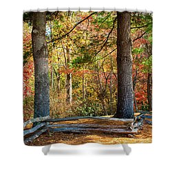 Split Rail Fence And Autumn Leaves Shower Curtain