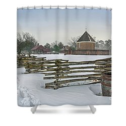 Split Rail Fence In Front Of Colonial Williamsburg Magazine Shower Curtain
