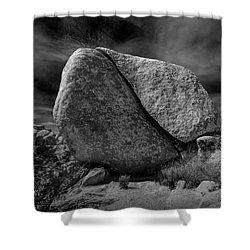 Shower Curtain featuring the photograph Split Rock In Black And White At Joshua Tree National Park by Randall Nyhof