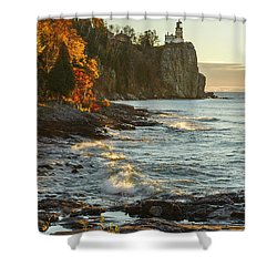Split Rock Lighthouse At Sunrose Shower Curtain