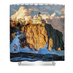 Shower Curtain featuring the painting Split Rock Lighthouse by Christopher Arndt