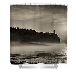Shower Curtain featuring the photograph Split Rock Lighthouse Emerging Fog by Rikk Flohr