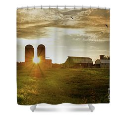 Split Silo Sunset Shower Curtain