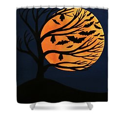 Spooky Bat Tree Shower Curtain