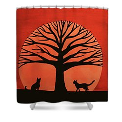 Spooky Cat Tree Shower Curtain