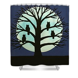 Spooky Owl Tree Shower Curtain