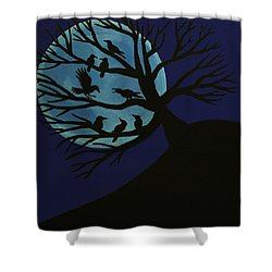 Spooky Raven Tree Shower Curtain