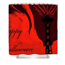 Spooky Seattle Space Needle Shower Curtain