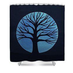 Spooky Tree Blue Shower Curtain