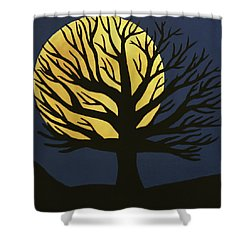Spooky Tree Yellow Shower Curtain