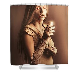 Spooky Vampire Girl Drinking A Glass Of Red Wine Shower Curtain by Jorgo Photography - Wall Art Gallery