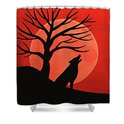 Spooky Wolf Tree Shower Curtain
