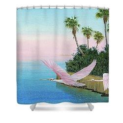 Spoonbills In Flight Shower Curtain by Kevin Brant