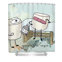 Shower Curtain featuring the digital art Spoonful Of Sugar Words Illustrated  by Heather Applegate