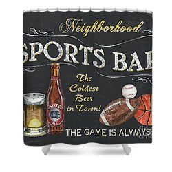 Sports Bar Shower Curtain by Debbie DeWitt
