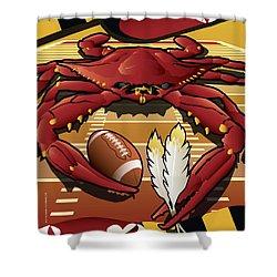 Sports Crab Redskins Maryland Celebrating Washington Football Shower Curtain