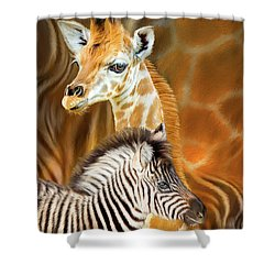 Shower Curtain featuring the mixed media Spots And Stripes - Giraffe And Zebra by Carol Cavalaris