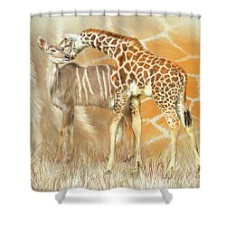 Shower Curtain featuring the mixed media Spots And Stripes - Giraffe - Antelope by Carol Cavalaris