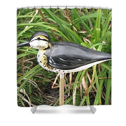 Shower Curtain featuring the sculpture Spotted Sandpiper  by Kevin F Heuman