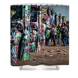 Shower Curtain featuring the photograph Spray Paint Fun At Cadillac Ranch by Randall Nyhof