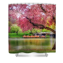 Shower Curtain featuring the photograph Spring Afternoon In The Boston Public Garden - Boston Swan Boats by Joann Vitali