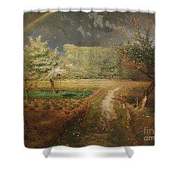 Spring At Barbizon Shower Curtain by Jean Francois Millet