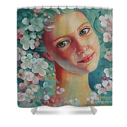 Shower Curtain featuring the painting Spring B by Elena Oleniuc
