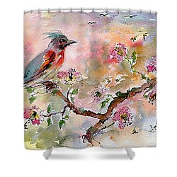Spring Bird Fantasy Watercolor  Shower Curtain by Ginette Callaway