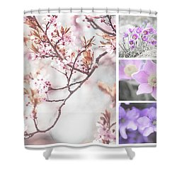 Shower Curtain featuring the photograph Spring Bloom Collage 1. Shabby Chic Collection by Jenny Rainbow