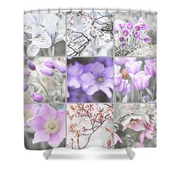 Shower Curtain featuring the photograph Spring Bloom Collage. Shabby Chic Collection by Jenny Rainbow