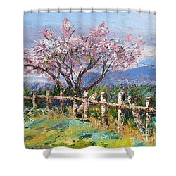 Spring Blossom Pallet Knife Painting Shower Curtain by Lisa Boyd
