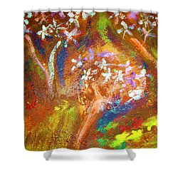 Shower Curtain featuring the painting Spring Blossom by Winsome Gunning