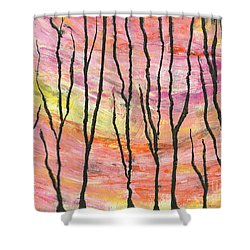 Shower Curtain Featuring The Mixed Media Spring Blows In By Cyndi Lavin
