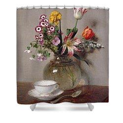 Spring Bouquet Shower Curtain by Ignace Henri Jean Fantin-Latour