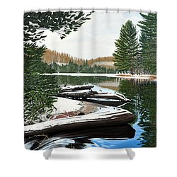 Shower Curtain featuring the painting Spring Breakup by Kenneth M Kirsch