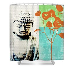 Spring Buddha Shower Curtain by Linda Woods