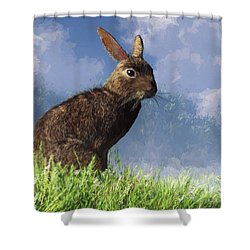 Shower Curtain featuring the digital art Spring Bunny by Daniel Eskridge