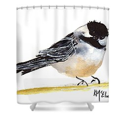 My Little Chickadee Bird Art Watercolor And Gouache And Ink Painting By Kmcelwaine Shower Curtain