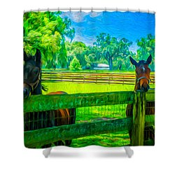 Shower Curtain featuring the painting Spring Colts by Louis Ferreira