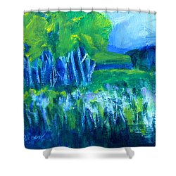 Shower Curtain featuring the painting Spring Coming by Betty Pieper