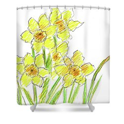 Shower Curtain featuring the painting Spring Daffodils by Cathie Richardson