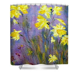 Spring Daffodils Shower Curtain by Claire Bull