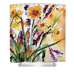 Spring Daffodils Flowers Watercolor Painting Shower Curtain