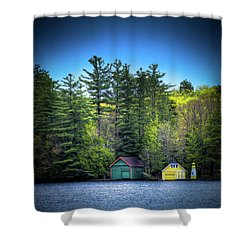 Spring Day At Old Forge Pond Shower Curtain by David Patterson